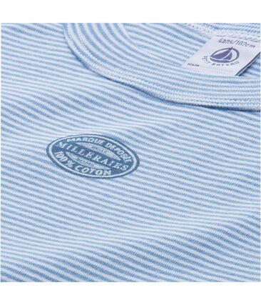 Pijama corto para niño mil rayas azul Alaska / blanco Ecume