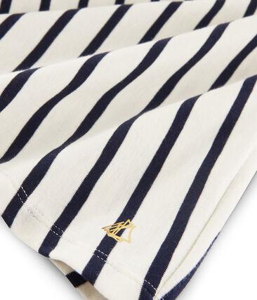 Falda de canalé para niña beige Coquille / azul Abysse