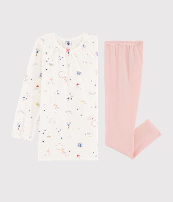 Camisón con estampado mágico de terciopelo con «leggings» para niña pequeña blanco Marshmallow / blanco Multico