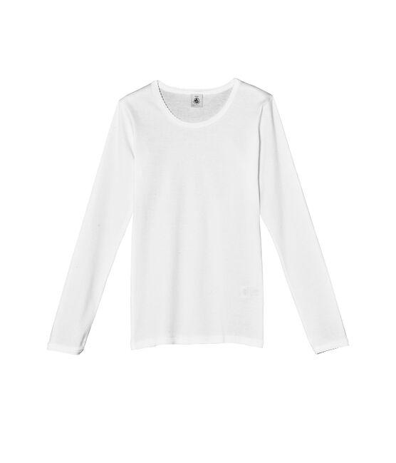 Camiseta para niña en punto cocotte y manga larga blanco Ecume
