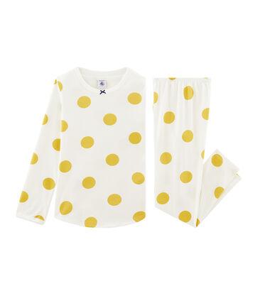 Pijama de punto para niña blanco Marshmallow / amarillo Ble Cn