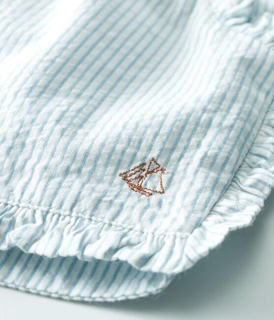 Pantalón corto de mil rayas para bebé niña blanco Marshmallow / azul Acier