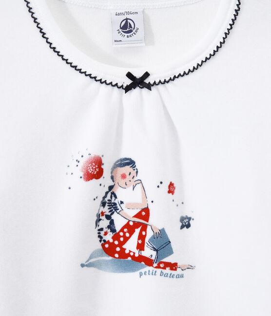 Pijama de terciopelo para niña azul Smoking / blanco Ecume