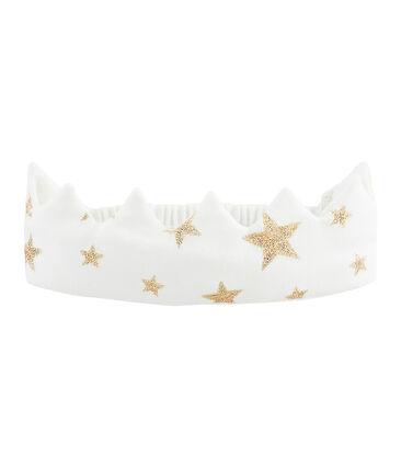 Corona de punto para bebé blanco Marshmallow / amarillo Or