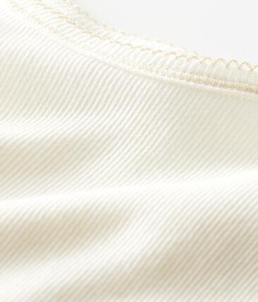 Camisa con tirantes de niña de algodón, lana y seda blanco Marshmallow