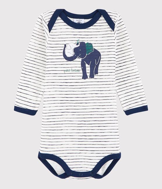 Bodi de manga larga de bebé niña/niño blanco Marshmallow / azul Medieval