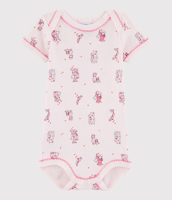 Bodi de manga corta de bebé niña rosa Vienne / blanco Multico