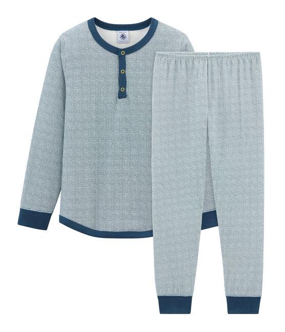 Pijama de tela túbica para niño blanco Marshmallow / azul Shadow