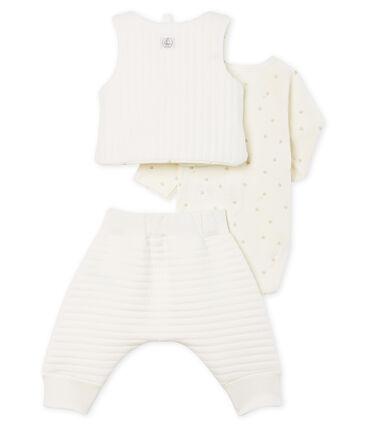 Conjunto de tres piezas para bebé niña de túbico blanco Marshmallow