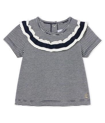 Blusa manga corta milrayas para bebé niña