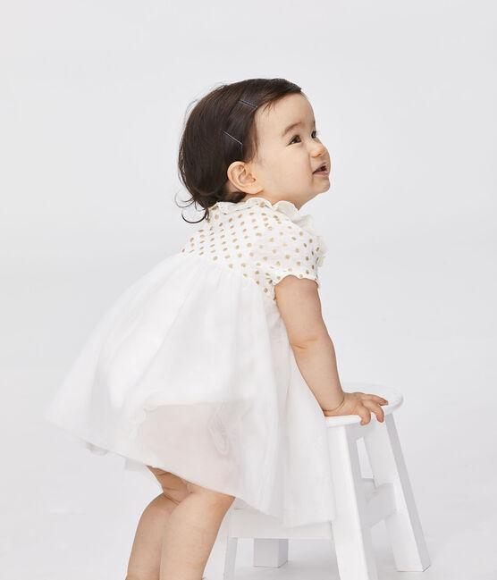 Vestido-bodi de algodón de lino para bebé niña blanco Marshmallow / amarillo Or