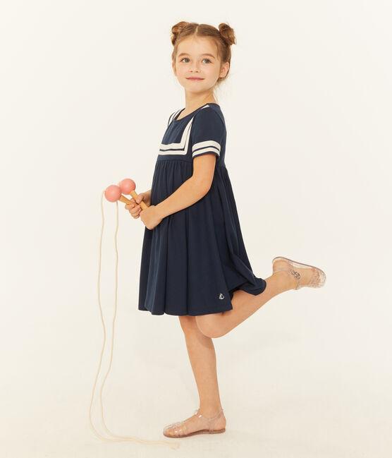 Vestido infantil para niña azul Smoking
