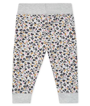 Pantalón de muletón estampado para bebé niña gris Beluga / blanco Multico