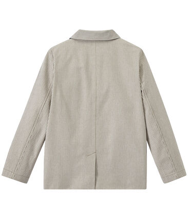 Chaqueta a rayas de tela para niño gris Minerai / blanco Lait