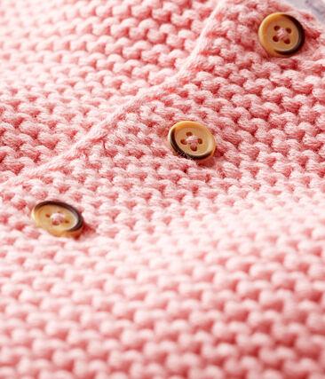 Cárdigan de lana y algodón de punto musgo para bebé niña rosa Charme