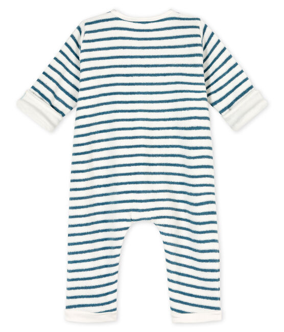 Buzo largo a rayas para bebé de esponja de tejido de rizo afelpado muy cálido blanco Marshmallow / azul Astro