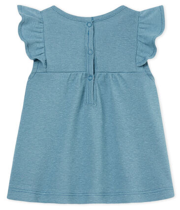 Blusa manga corta de algodón/lino para bebé niña