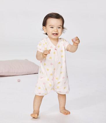 Pelele corto de punto para bebé de niña rosa Fleur / blanco Multico