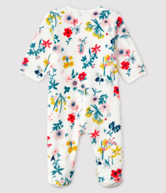Sobrepijama de polar con estampado de flores para bebé niña blanco Marshmallow / blanco Multico