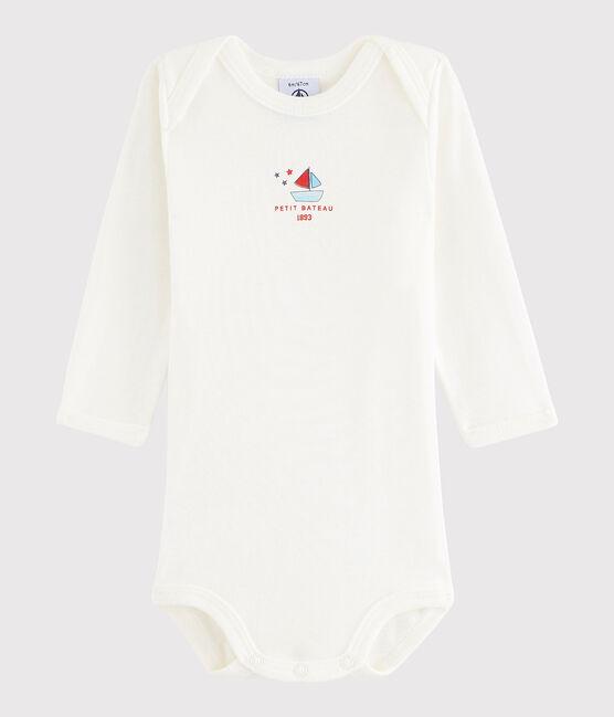 Bodi de manga larga de bebé niña/niño blanco Lait