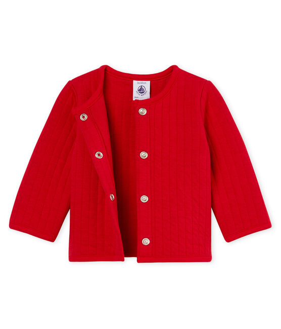 Cárdigan de tela túbica acolchada para bebé niña rojo Terkuit
