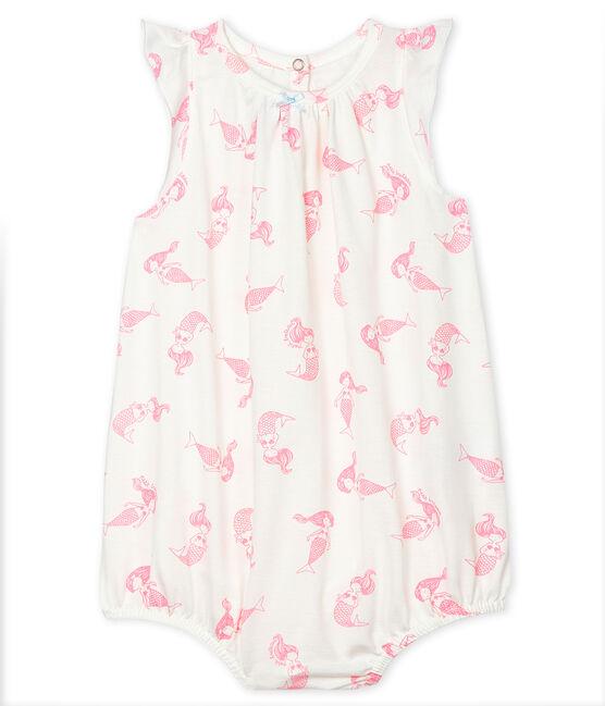 Pelele corto de punto fino para bebé de niña blanco Marshmallow / rosa Rose