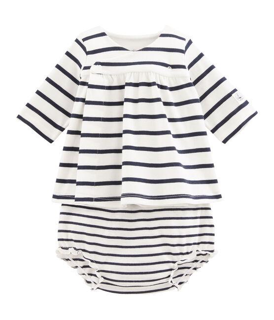 Vestido y braguita «bloomer» de punto para bebé niña blanco Marshmallow / azul Smoking