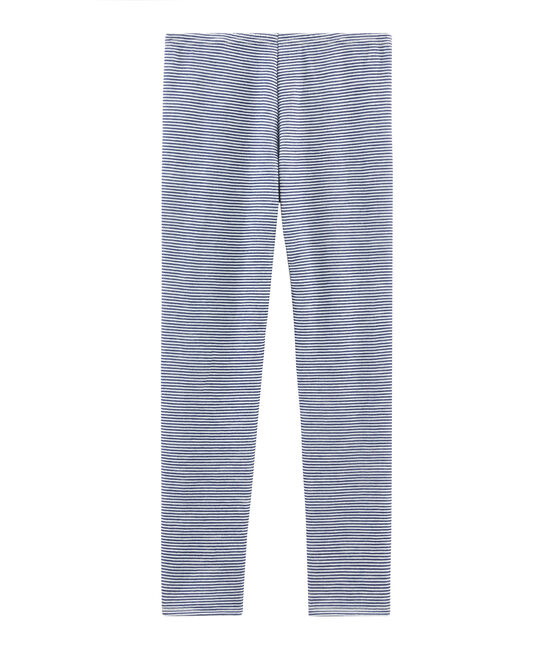 Leggings cálidos para mujer azul Medieval / blanco Marshmallow