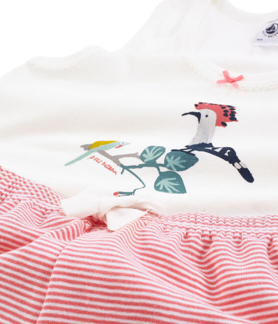 Pijama corto de punto para niña rosa Cupcake / blanco Marshmallow
