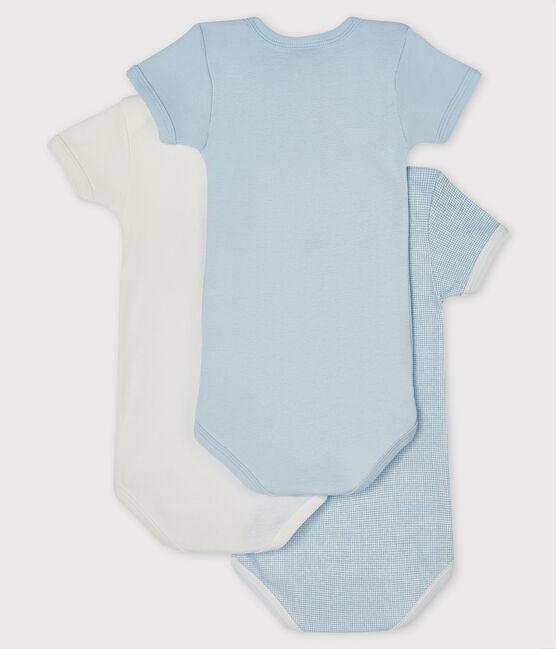 Juego de 3 bodis de manga corta azul y blanco para bebé niño lote .