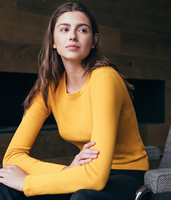 Camiseta de manga larga icónica de mujer amarillo Boudor