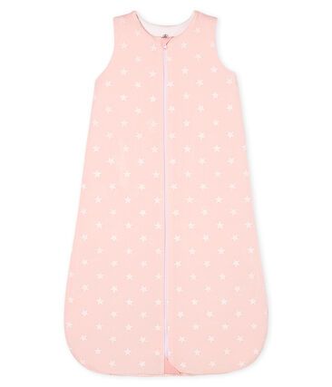 Saco de terciopelo para bebé niña rosa Minois / blanco Marshmallow
