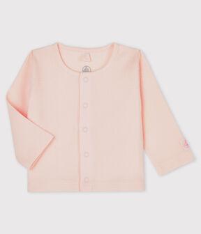 Rebeca de bebé de canalé 2x2 de algodón ecológico rosa Fleur