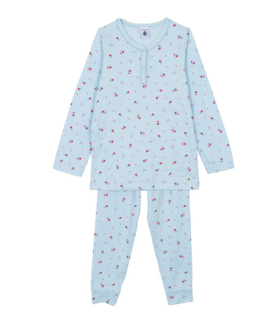 Pijama de punto azul Fraicheur / blanco Multico