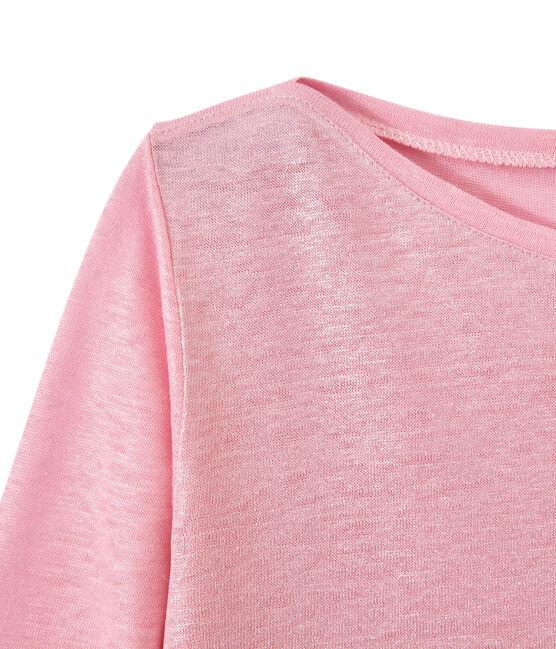 Camiseta de manga larga de lino para mujer rosa Babylone / gris Argent