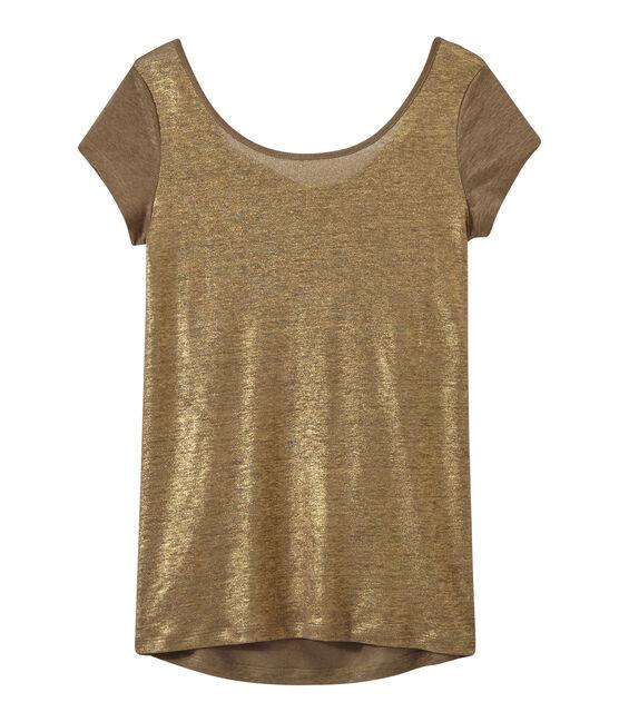 Camiseta de lino con cuello redondo marrón Shitake / amarillo Or