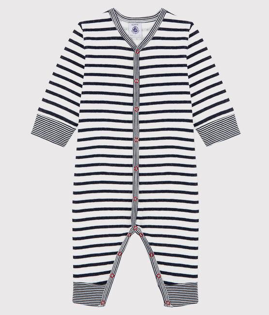 Pelele sin pies de punto tubular de rayas para bebé mixto blanco Marshmallow / azul Smoking
