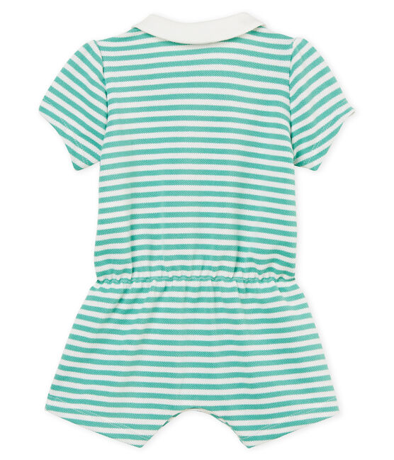 Mono corto polo de rayas para bebé niña verde Aloevera / blanco Marshmallow