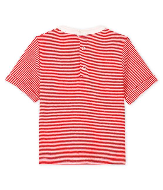 Camiseta para bebé niño mil rayas rojo Peps / blanco Marshmallow
