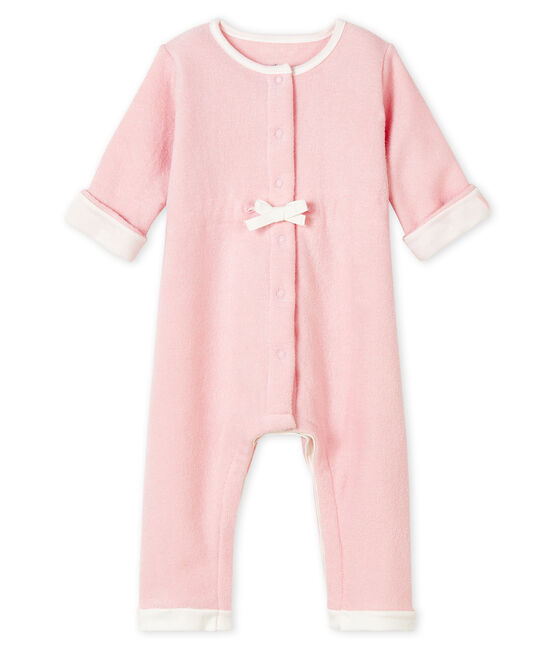 Buzo largo rosa para bebé de esponja de tejido de rizo afelpado muy cálido JOLI