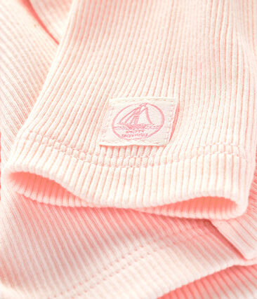 Cárdigan de canalé 2x2 para bebé rosa Fleur