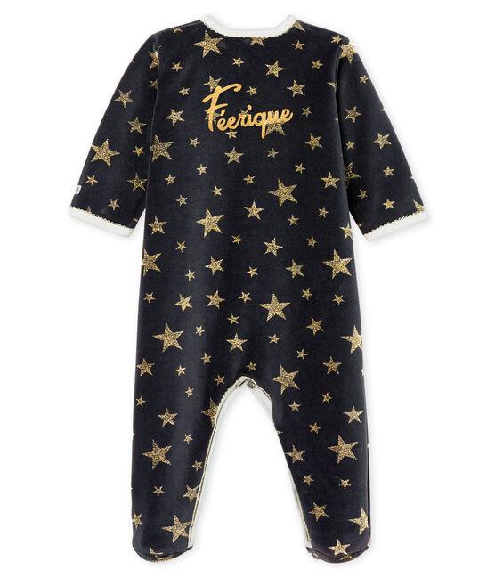 Pijama de terciopelo para bebé niña gris Capecod / amarillo Or