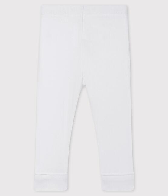 «Legging» de punto 1 x 1 liso para bebé niña. blanco Marshmallow