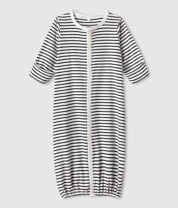 Mono-saco para bebé de punto blanco Marshmallow / azul Smoking