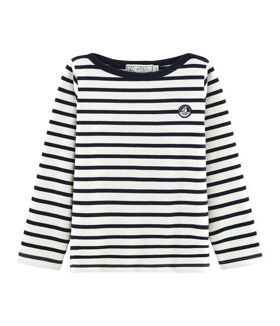 Jersey marinero icónico para niño beige Coquille / azul Smoking
