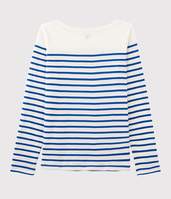 Camiseta marinera de mujer Serge Bloch blanco Marshmallow / azul Perse