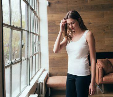 Camiseta de tirantes para mujer de punto 2x2 blanco Marshmallow