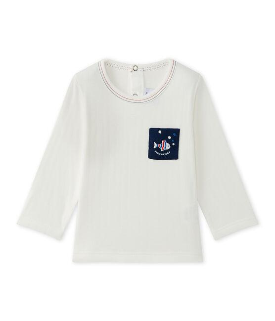 Camiseta de bebé niño liso blanco Marshmallow