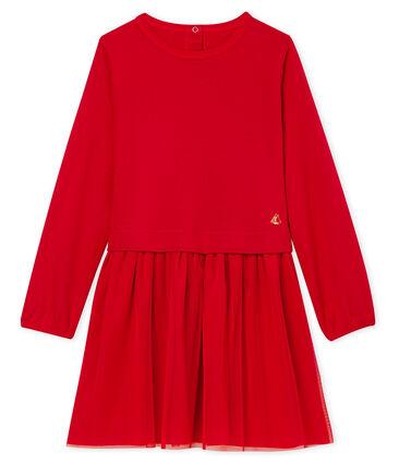 Vestido infantil bimaterial para niña