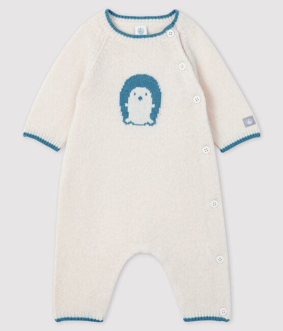 Mono largo de jacquard de punto para bebé blanco Marshmallow